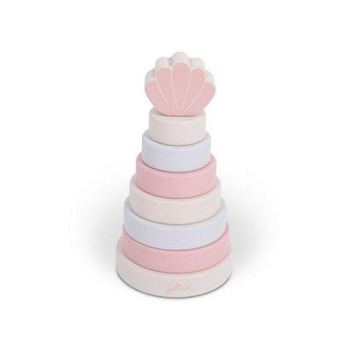 jollein-stapeltoren-hout-shell-roze